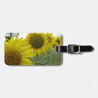 Etiqueta De Bagagem Tag da bagagem do campo dos girassóis com correia