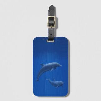 Etiqueta De Bagagem Tag da bagagem do casal do golfinho
