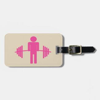 Etiqueta De Bagagem Tag da bagagem do halterofilismo no rosa