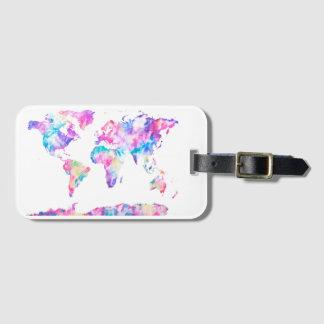 Etiqueta De Bagagem Tag da bagagem do mapa do mundo da aguarela