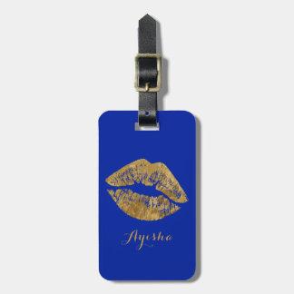 Etiqueta De Bagagem Tag da bagagem do monograma do beijo do efeito da