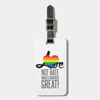 Etiqueta De Bagagem Tag da bagagem do ódio do amor não (arco-íris)