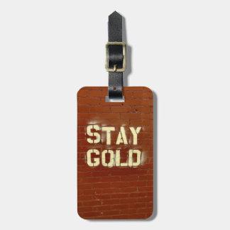 Etiqueta De Bagagem Tag da bagagem do ouro da estada