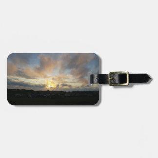 Etiqueta De Bagagem Tag da bagagem do por do sol do acampamento de