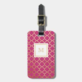 Etiqueta De Bagagem Tag da bagagem do quatrefoil do ouro e do rosa