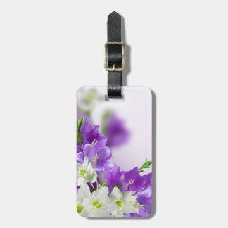 Etiqueta De Bagagem Tag da bagagem--Flores roxas verticais