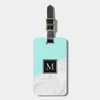 Etiqueta De Bagagem Tag de mármore branco da bagagem do monograma do