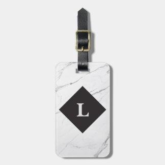 Etiqueta De Bagagem Tag de mármore branco luxuoso personalizado da