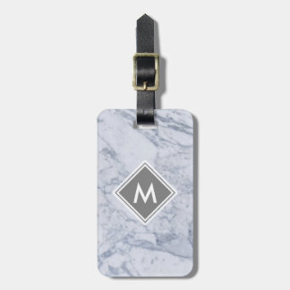 Etiqueta De Bagagem Tag de mármore da bagagem do monograma com correia