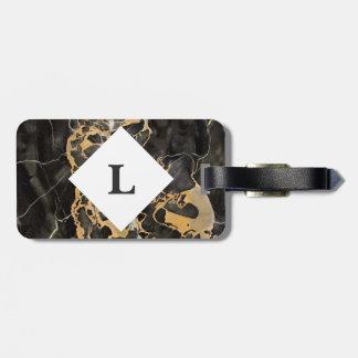 Etiqueta De Bagagem Tag de mármore da bagagem personalizada do preto e