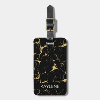 Etiqueta De Bagagem Tag de mármore personalizado da bagagem do preto e