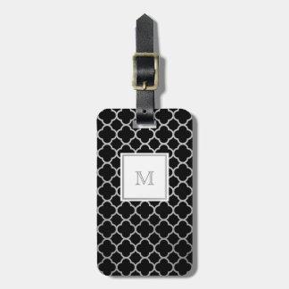 Etiqueta De Bagagem Tag de prata e preto da bagagem do quatrefoil