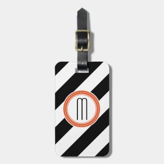 Etiqueta De Bagagem Tag diagonal da bagagem do monograma da listra - c