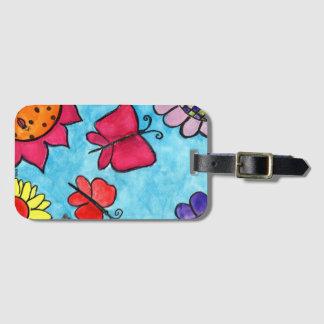 Etiqueta De Bagagem Tag do saco das flores & das borboletas