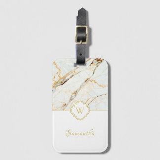 Etiqueta De Bagagem Tag elegante de mármore da bagagem do ouro branco