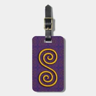 Etiqueta De Bagagem Tag espiral dourado da bagagem com correia de
