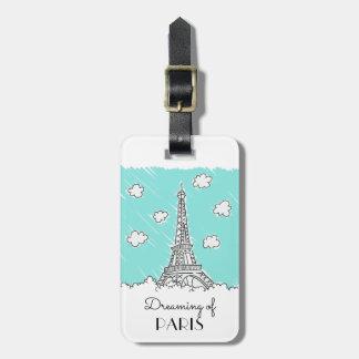 Etiqueta De Bagagem Tag feito sob encomenda da bagagem da torre Eiffel