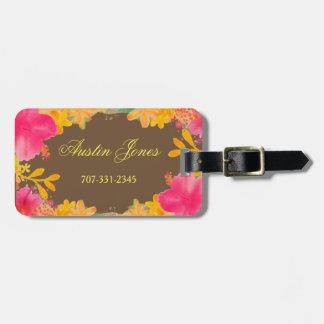Etiqueta De Bagagem Tag florais da bagagem do hibiscus