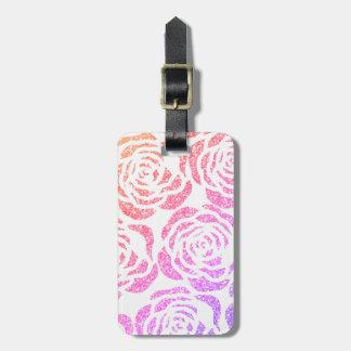 Etiqueta De Bagagem Tag floral branco da bagagem dos rosas coloridos