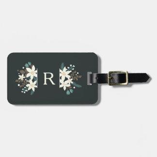 Etiqueta De Bagagem Tag floral da bagagem do monograma da poinsétia