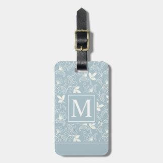 Etiqueta De Bagagem Tag floral elegante da bagagem do monograma   do