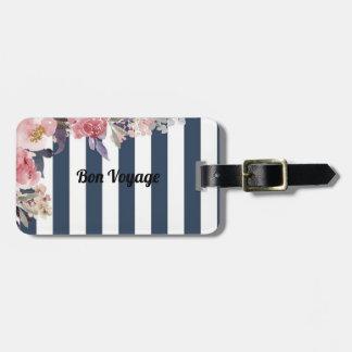 Etiqueta De Bagagem Tag floral listrado azul & branco da bagagem