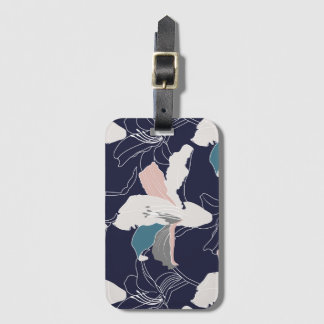 Etiqueta De Bagagem Tag floral tropical da bagagem do marinho