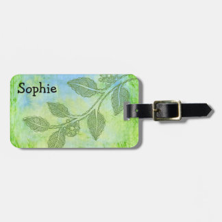 Etiqueta De Bagagem Tag floral verde da bagagem