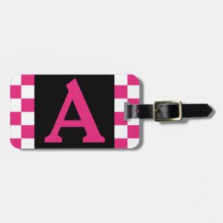 Etiqueta De Bagagem Tag inicial da bagagem do monograma - rosa
