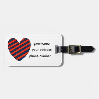 Etiqueta De Bagagem Tag listrado da bagagem do coração de escarlate e
