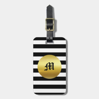 Etiqueta De Bagagem Tag moderno branco, preto & do ouro da bagagem -
