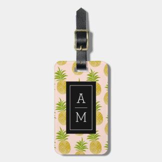 Etiqueta De Bagagem Tag Monogrammed da bagagem do abacaxi fino