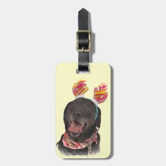 Etiqueta De Bagagem Tag preto alegre da bagagem do cão de labrador