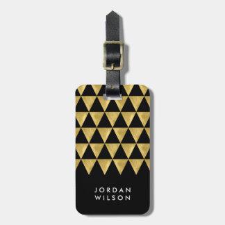 Etiqueta De Bagagem Tag preto elegante da bagagem do triângulo do ouro