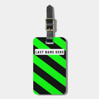 Etiqueta De Bagagem Tag preto & verde da bagagem