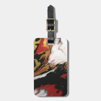 Etiqueta De Bagagem Tag preto vermelho chique da bagagem do ouro