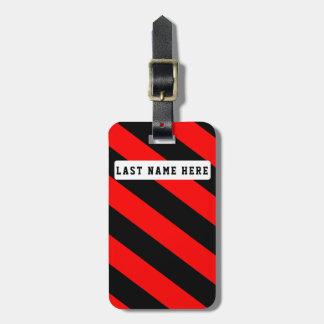 Etiqueta De Bagagem Tag preto & vermelho da bagagem