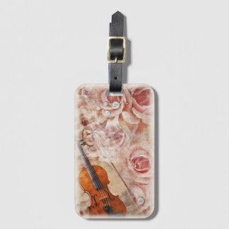 Etiqueta De Bagagem Tag romântico da bagagem do violino