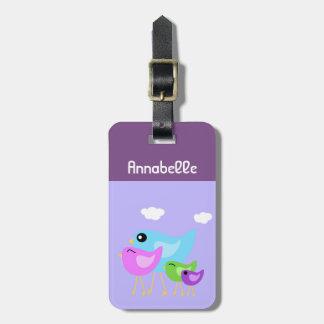 Etiqueta De Bagagem Tag roxo da bagagem da família de pássaro
