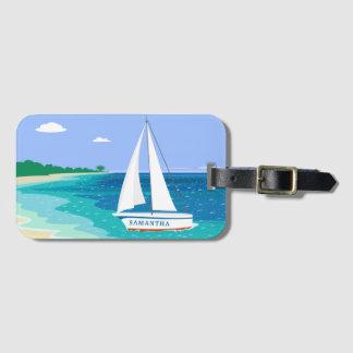 Etiqueta De Bagagem Tag tropical da bagagem da praia do veleiro do