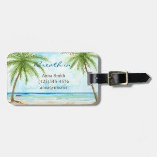 Etiqueta De Bagagem Tag tropical da bagagem das palmas