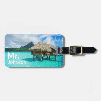 Etiqueta De Bagagem Tag tropical da bagagem do viagem