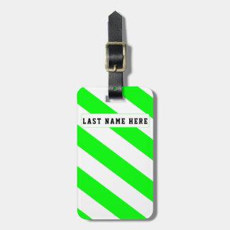 Etiqueta De Bagagem Tag verde & branco da bagagem