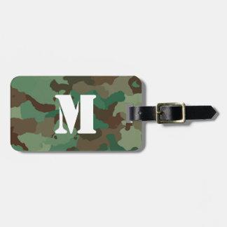 Etiqueta De Bagagem Tag verde da bagagem de Camo com monograma branco