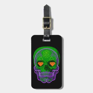 Etiqueta De Bagagem Tag verde da bagagem do crânio do açúcar