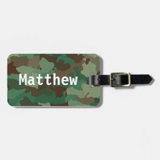 Etiqueta De Bagagem Tag verde personalizado da bagagem de Camo