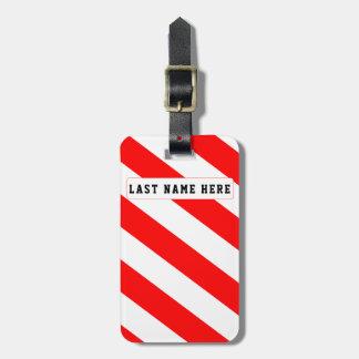 Etiqueta De Bagagem Tag vermelho & branco da bagagem