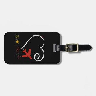Etiqueta De Bagagem Tag vermelho da bagagem do pássaro com correia de