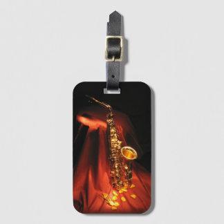 Etiqueta De Bagagem Tag vermelho da bagagem do saxofone