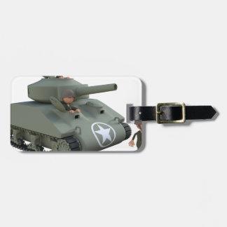 Etiqueta De Bagagem Tanque e soldados dos desenhos animados que vão
